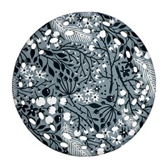 Abstract Floral Pattern Grey Round Filigree Ornament (two Sides) by Mariart