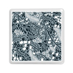 Abstract Floral Pattern Grey Memory Card Reader (square)  by Mariart
