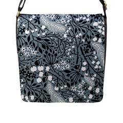 Abstract Floral Pattern Grey Flap Messenger Bag (l)  by Mariart
