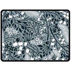 Abstract Floral Pattern Grey Double Sided Fleece Blanket (large)  by Mariart