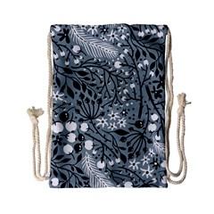 Abstract Floral Pattern Grey Drawstring Bag (small) by Mariart