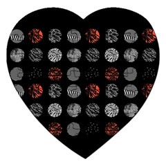 Digital Art Dark Pattern Abstract Orange Black White Twenty One Pilots Jigsaw Puzzle (heart) by Onesevenart