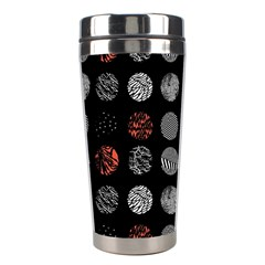 Digital Art Dark Pattern Abstract Orange Black White Twenty One Pilots Stainless Steel Travel Tumblers by Onesevenart