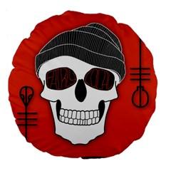 Poster Twenty One Pilots Skull Large 18  Premium Flano Round Cushions by Onesevenart