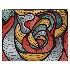 Beautiful Pattern Background Wave Chevron Waves Line Rainbow Art Cosmetic Bag (xxxl)  by Mariart