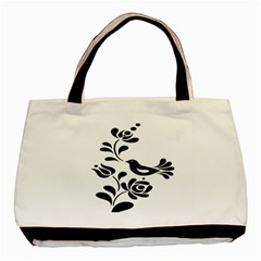 Birds Flower Rose Black Animals Basic Tote Bag by Mariart