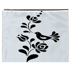 Birds Flower Rose Black Animals Cosmetic Bag (xxxl)  by Mariart