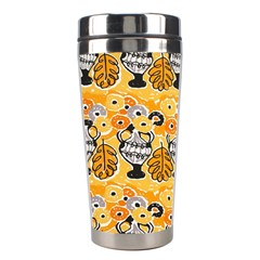 Amfora Leaf Yellow Flower Stainless Steel Travel Tumblers by Mariart