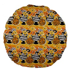 Amfora Leaf Yellow Flower Large 18  Premium Flano Round Cushions by Mariart
