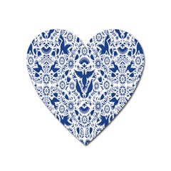 Birds Fish Flowers Floral Star Blue White Sexy Animals Beauty Heart Magnet by Mariart