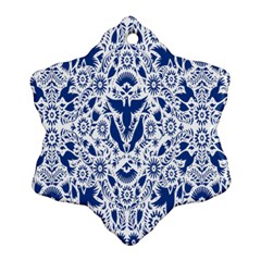 Birds Fish Flowers Floral Star Blue White Sexy Animals Beauty Ornament (snowflake) by Mariart