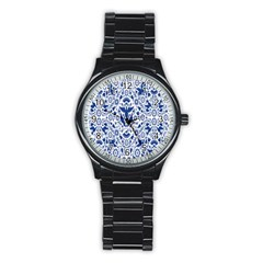 Birds Fish Flowers Floral Star Blue White Sexy Animals Beauty Stainless Steel Round Watch by Mariart
