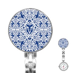 Birds Fish Flowers Floral Star Blue White Sexy Animals Beauty Stainless Steel Nurses Watch by Mariart