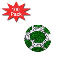 Bottna Fabric Leaf Green 1  Mini Magnets (100 Pack)  by Mariart