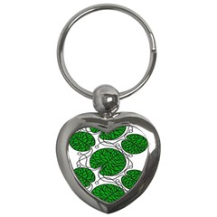 Bottna Fabric Leaf Green Key Chains (heart)  by Mariart