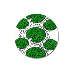 Bottna Fabric Leaf Green Magnet 3  (round) by Mariart