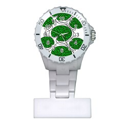 Bottna Fabric Leaf Green Plastic Nurses Watch by Mariart