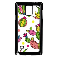 Cactus Seamless Pattern Background Polka Wave Rainbow Samsung Galaxy Note 4 Case (black) by Mariart