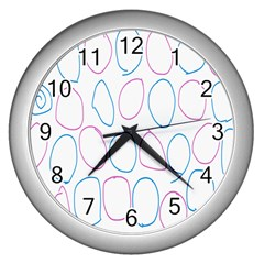 Circles Featured Pink Blue Wall Clocks (silver)  by Mariart