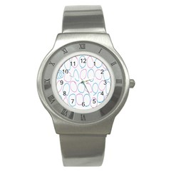 Circles Featured Pink Blue Stainless Steel Watch by Mariart