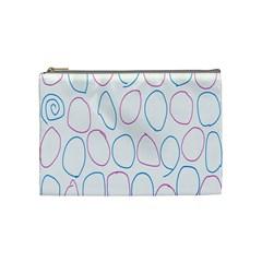 Circles Featured Pink Blue Cosmetic Bag (medium)