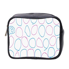 Circles Featured Pink Blue Mini Toiletries Bag 2 Side by Mariart