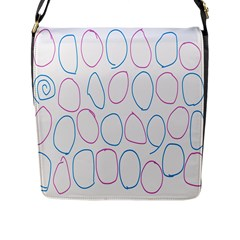 Circles Featured Pink Blue Flap Messenger Bag (l)  by Mariart