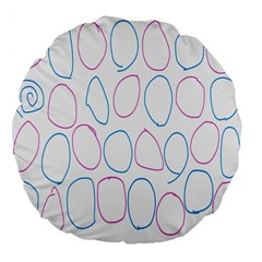 Circles Featured Pink Blue Large 18  Premium Flano Round Cushions by Mariart