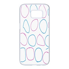 Circles Featured Pink Blue Samsung Galaxy S7 Edge White Seamless Case by Mariart