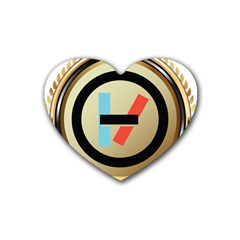 Twenty One Pilots Shield Rubber Coaster (heart)  by Onesevenart