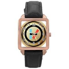 Twenty One Pilots Shield Rose Gold Leather Watch  by Onesevenart