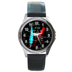 Twenty One Pilots Stay Alive Song Lyrics Quotes Round Metal Watch by Onesevenart