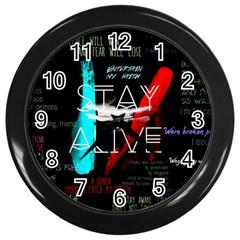 Twenty One Pilots Stay Alive Song Lyrics Quotes Wall Clocks (black) by Onesevenart