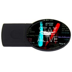 Twenty One Pilots Stay Alive Song Lyrics Quotes Usb Flash Drive Oval (2 Gb) by Onesevenart