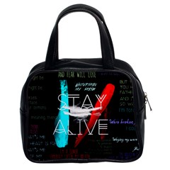 Twenty One Pilots Stay Alive Song Lyrics Quotes Classic Handbags (2 Sides) by Onesevenart