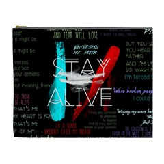 Twenty One Pilots Stay Alive Song Lyrics Quotes Cosmetic Bag (xl) by Onesevenart