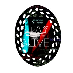 Twenty One Pilots Stay Alive Song Lyrics Quotes Ornament (oval Filigree) by Onesevenart