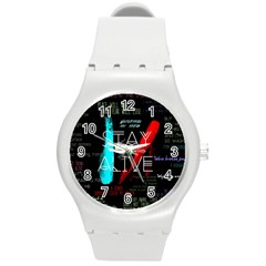 Twenty One Pilots Stay Alive Song Lyrics Quotes Round Plastic Sport Watch (m) by Onesevenart