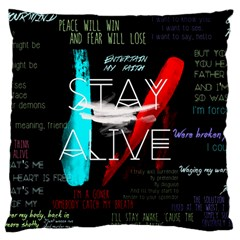 Twenty One Pilots Stay Alive Song Lyrics Quotes Large Cushion Case (two Sides) by Onesevenart