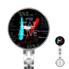 Twenty One Pilots Stay Alive Song Lyrics Quotes Stainless Steel Nurses Watch by Onesevenart