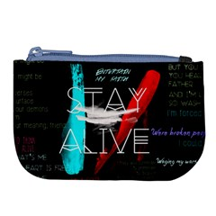 Twenty One Pilots Stay Alive Song Lyrics Quotes Large Coin Purse by Onesevenart