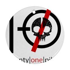 Twenty One Pilots Skull Round Ornament (two Sides) by Onesevenart