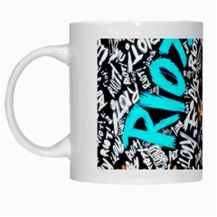 Panic! At The Disco College White Mugs by Onesevenart