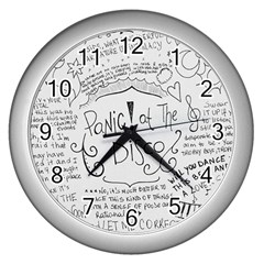Panic! At The Disco Lyrics Wall Clocks (silver)  by Onesevenart