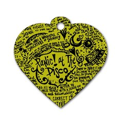 Panic! At The Disco Lyric Quotes Dog Tag Heart (two Sides) by Onesevenart