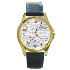 Panic At The Disco Lyrics Round Gold Metal Watch by Onesevenart