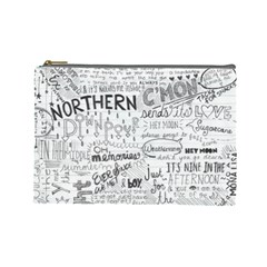 Panic At The Disco Lyrics Cosmetic Bag (large)  by Onesevenart