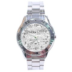 Panic At The Disco Lyrics Stainless Steel Analogue Watch by Onesevenart