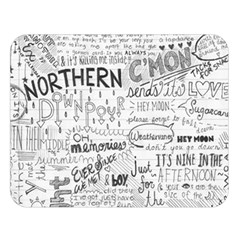 Panic At The Disco Lyrics Double Sided Flano Blanket (large)  by Onesevenart