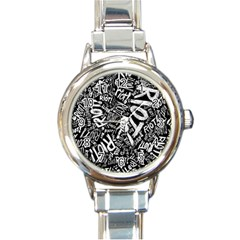 Panic At The Disco Lyric Quotes Retina Ready Round Italian Charm Watch by Onesevenart